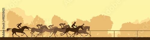 Zdjęcia na płótnie, fototapety, obrazy : horse racing silhouette