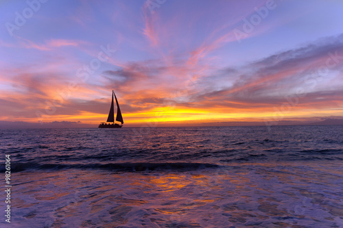 Sailboat Sunset Silhouette Poster