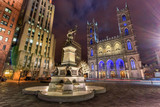 Fototapety Place D'Armes at Night - Montreal, Canada