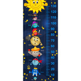 solar system height measure(in original proportions 1:4) - vector illustration, eps