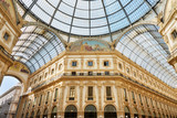 Milan, Vittorio Emanuele gallery interior view in a sunny day