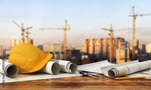 Concept of construction and design. 3d render of blueprints and