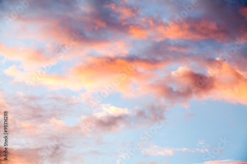 Fototapeta colorful dramatic sky with cloud at sunset