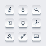 Science, research, laboratory rounded square icons, vector illustration