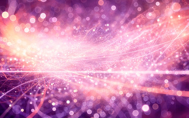 abstract fractal background, sparkling light curves with depth blur and glowing circles