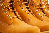 yellow winter boots, closeup view