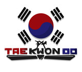 Create Taekwondo text graphic with flag Korea Background