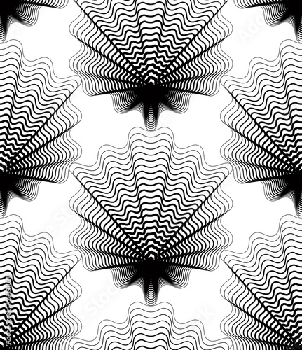 Black and white illusive abstract seamless pattern with geometri - 98341821