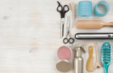 Professional hairdressing tools and accessories with left side copy space