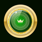 Guaranteed gold label.Gold label with green stone and the crown.