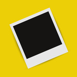 Realistic picture frame on a yellow background with shadow