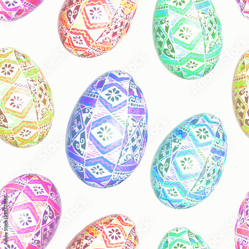 Cotton fabric Seamless pattern with Easter eggs