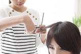 Women are cut hair hairdresser