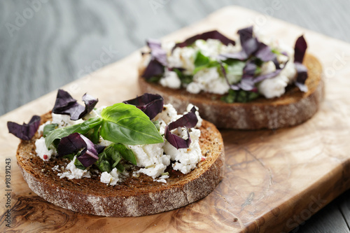 "rye sandwich or bruschetta with ricotta, herbs and basil"" Stock photo ..."