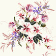 Vector seamless background with hibiscus flowers in retro style