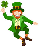 Vector illustration of a jumping, smiling cartoon leprechaun holding a four-leaf clover.