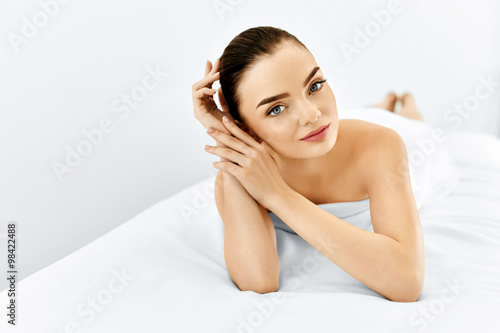 Poster Beauty Face. Portrait Woman With Clean Skin. Skin Care Concept.