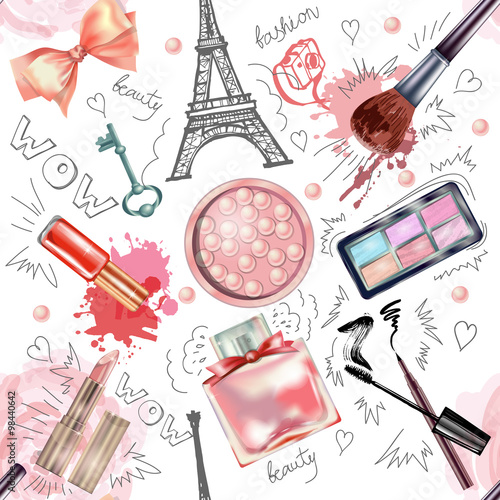 Materiał do szycia Seamless cosmetics  and fashion background  with  make up artist objects. Vector illustration.