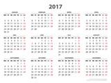 Jahreskalender 2017, Vorlage Längstformat