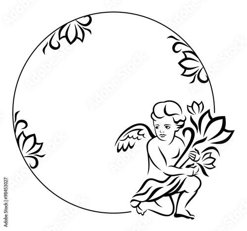 Naklejka Round frame with little angel