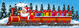 Cartoon Santa Claus Delivering gifts driving steam locomotive with three wagons in the snow