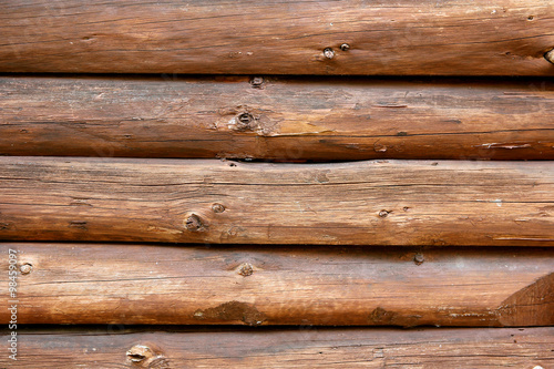 Rustic Log Cabin Wall Background Poster