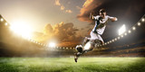 Fototapety Soccer player in action on sunset stadium panorama background