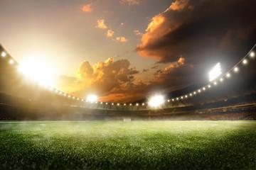 Empty sunset grand soccer arena in lights © 103tnn