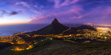 Fototapety Cape Town's Lion's Head Mountain Peak landscape seen from Table Mountain tourist hike