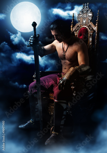 Medieval warrior on the throne on background of the moon Poster