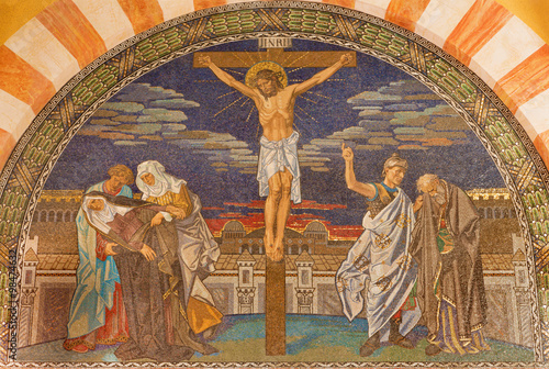 Jerusalem - Crucifixion. Mosaic in Evangelical Lutheran Church of Ascension