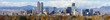 Denver, Colorado Skyline. Very large panorama of downtown Denver with Rocky Mountains in the background.