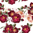 Seamless wallpaper pattern with realistic vector roses in vintag