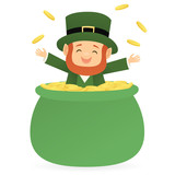 Leprechaun inside of a pot of gold tossing coins into the air