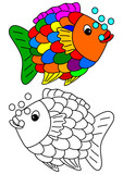 Color coloring book for young children - colorful fish - vector svg