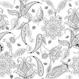 Fantasy flowers seamless paisley pattern. Floral ornament, for coloring page