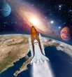 Shuttle rocket ship launch milky way galaxy mars planet solar system space. Elements of this image furnished by NASA.
