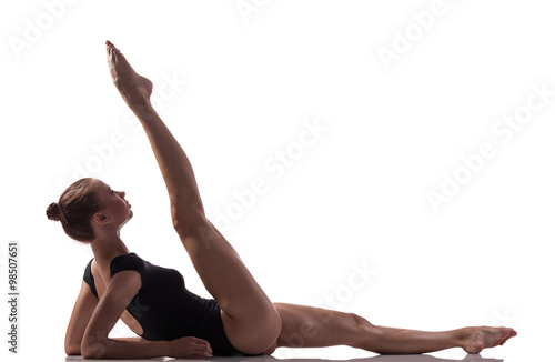 Gymnastics exercise over white isolated background Poster
