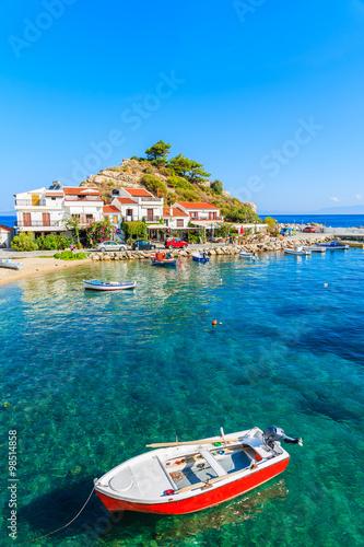 Aluminium Fishing boat in Kokkari bay, Samos island, Greece