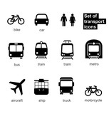 Fototapety Set transport icons on white background. Vector elements