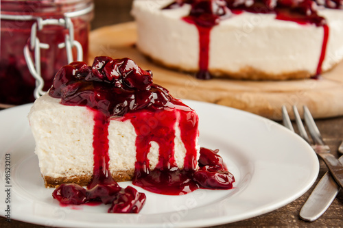 obraz lub plakat slice of cherry cheesecake