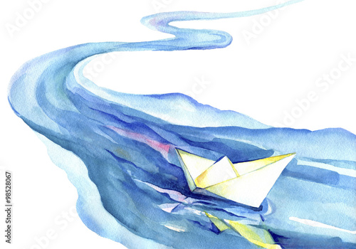 Fototapeta White paper boat floating in the water. Watercolor painting of the river and ship on a white background.