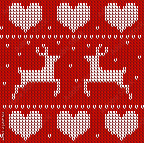 Cotton fabric Red Knitted stars with deers sweater in Norwegian style. Knitted Scandinavi