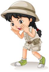 Dziewczynka w Kemping pokrzykiwania strój