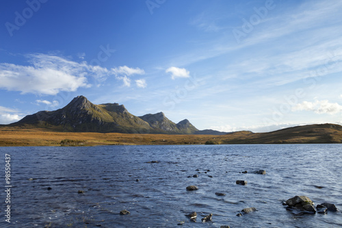 Lake and mountains of Ben Loyal, northern Scotland