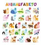 Fototapety Ilustración de vector Alfabeto ilustrado con animales para niños. Abecedario español. Aprender a leer.