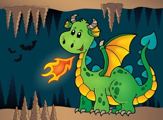 Cave with green happy dragon