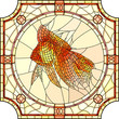 Vector illustration of mosaic gold fish.