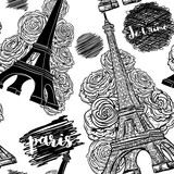 Paris. Vintage seamless pattern with Eiffel Tower, roses and ink scribbles. Retro black and white hand drawn vector illustration.