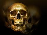 Golden human skull